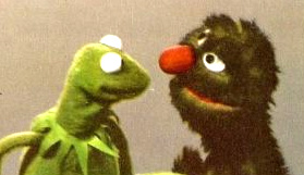 Kermit the Frog and a very moldy-looking Grover