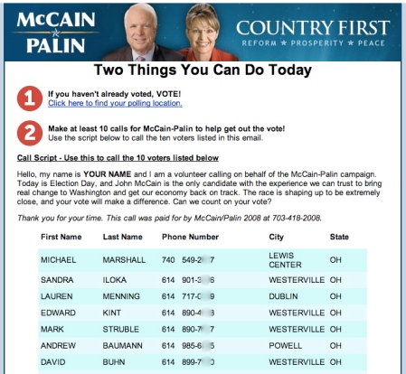 McCain emailed people's names & numbers to a foreigner like me.