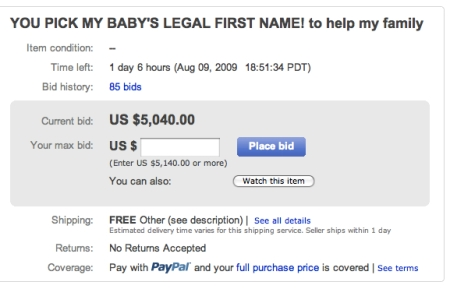 mom sells kids name on ebay