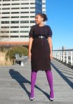 Black Calvin Klein Dress, purple tights, BCBG spectator shoes, fox collar coat-1